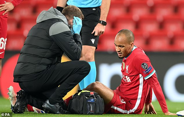 Fabinho suffered a hamstring injury in Liverpool's win over Midtjylland on Tuesday night