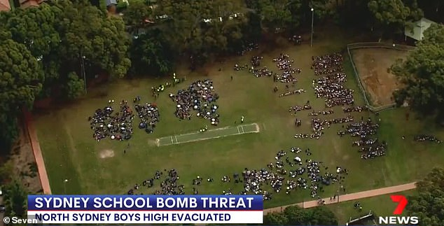 North Sydney Boys High School is the last school to be evacuated after being threatened by an anonymous source just after 9 a.m. on Thursday