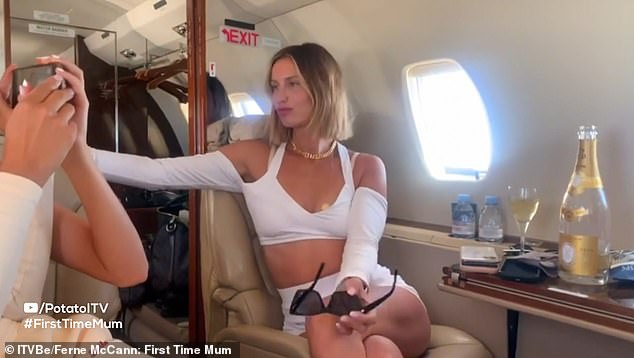 Say cheese! Ferne documented the trip for her fans, enjoying a glass of bubble while waiting for the jet to take off