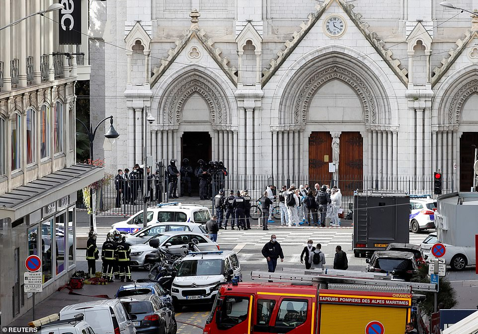 Three people have died - two of whom were beheaded - after a knifeman attacked the Notre Dame basilica in Nice at 9am on Friday, before he was shot and arrested by police