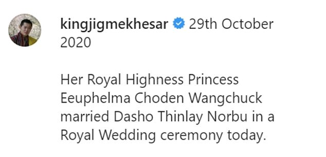 The court announced Eeuphelma and Dasho's union in an Instagram post praising the accomplishments of the couple