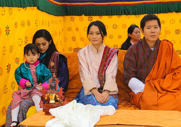 The Queen of Bhutan, Jetsun Pema, with her sister Yeatso Lhamo and her husbandPrince Jigme Dorji Wangchuck, who is the King's brother