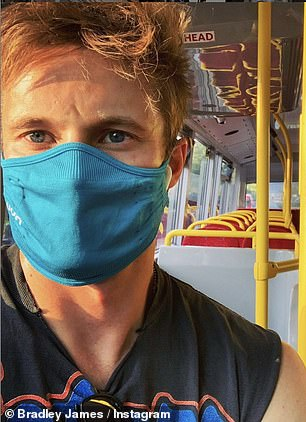 Cover up, but stand out: Play it safe: Bradley has previously shared selfies of himself with the blue face mask