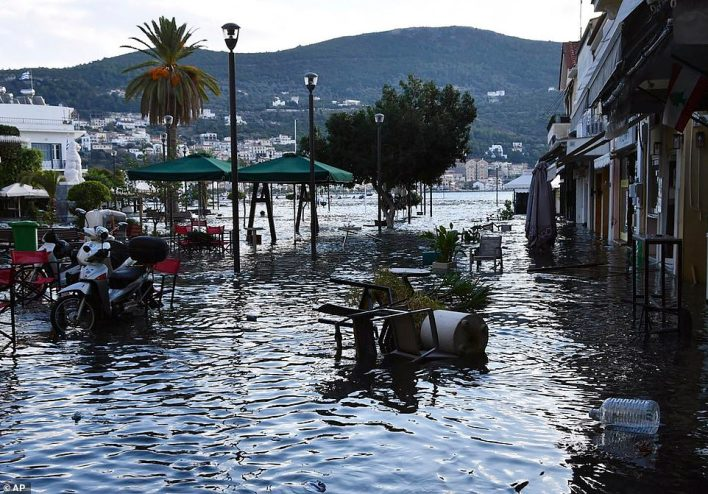 Flooding on the Greek island of Samos where sea water covered a square after a sea surge came in the wake of the tremor