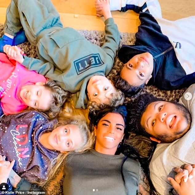 Family:Katie previously said her children (pictured), are big fans of Carl - but she said that her children don't need a new father figure because they already have their dads