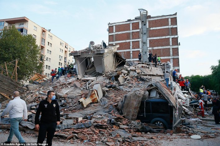 Search and rescue works are being conducted at debris of a building in Bayrakli district, Izmir