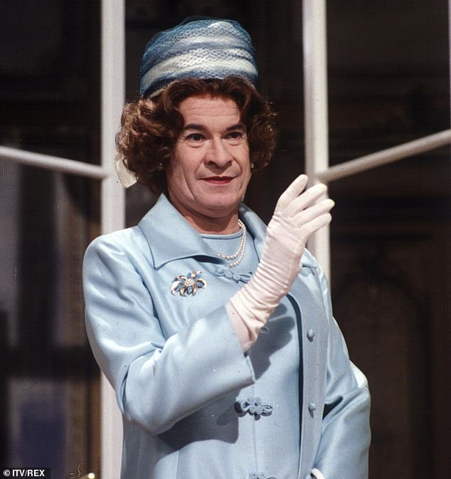 Stanley Baxter as panto dame May 1985:Baxter was desperately unhappy, his personal life a battlefield as he constantly lived in dread of being exposed in the press as a gay man
