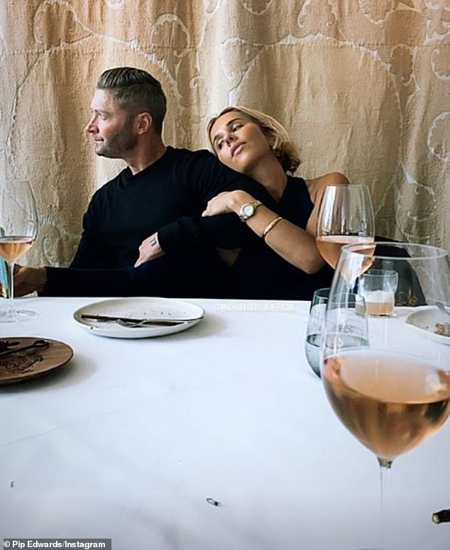 Competition? Just hours after Kyly shared an image with her beau, Pip Edwards (right) shared a similar loved-up shot as she cuddled up to her other half, Michael Clarke (left)