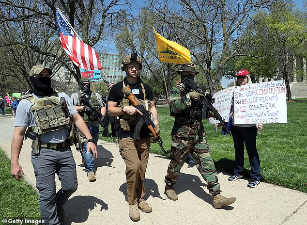Armed veterans protest in Topeka, Kansas in April, angered by the COVID lockdowns