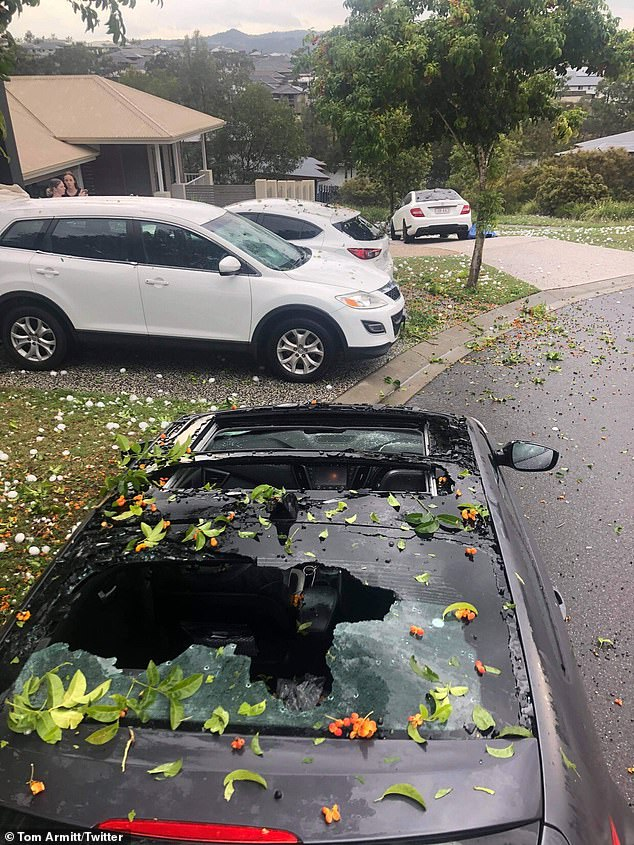Hail up to 7cm in diameter fell at Ipswich, Gatton and Adare, west of Brisbane, (pictured) the Bureau of Meteorology said on Saturday