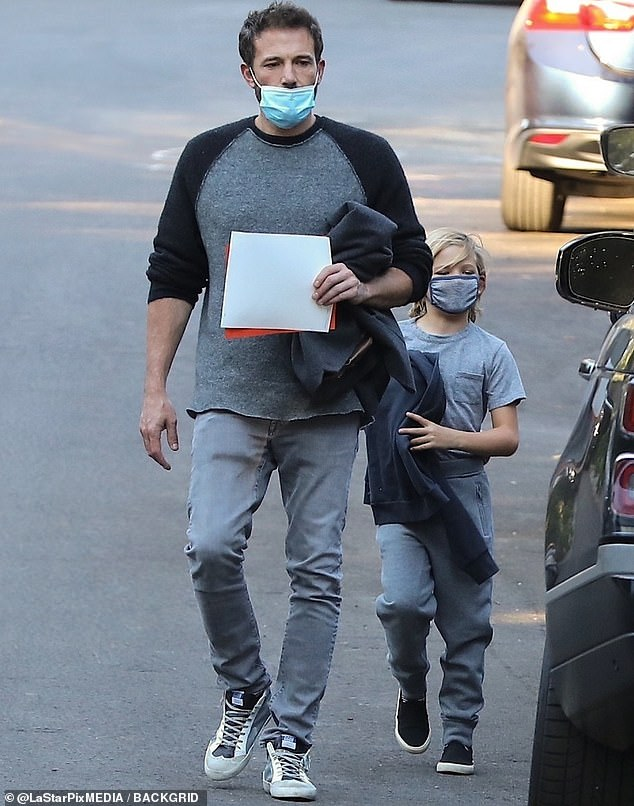 Family time: Ben Affleck looked really Hollywood silly when spotted in Los Angeles for a run this weekend with his eight-year-old son Samuel
