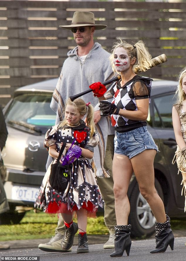 Hemsworth Halloween!  Thor star Chris and wife Elsa Pataky and their family stepped out for a ride or treatment in Byron Bay on Saturday