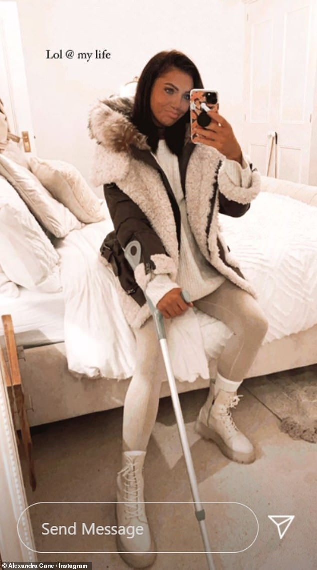 Injury: She took to Instagram to reveal her shock injury sustained during a workout, after showing off her crutch in a previous post