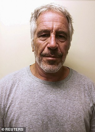 Pictured: Jeffrey Epstein, a discgraced financier who died by suicide in August 2019