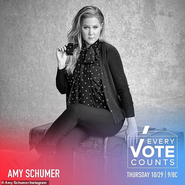 Spokesperson: Skilled at bridging both serious and funny matters, Amy has been a great person to get out the important messages around voting with humor; pictured for Every Vote Counts