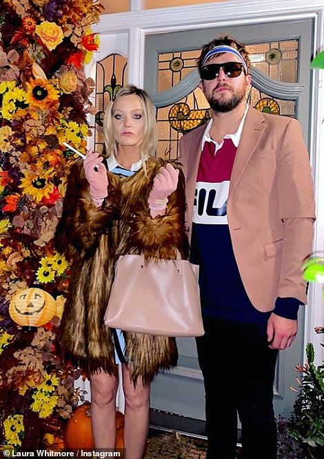 Happy Halloween: Laura Whitmore and beau Iain Stirling celebrated Halloween by dressing up as Gwyneth Paltrow and Luke Wilson's characters in The Royal Tenenbaums on Saturday