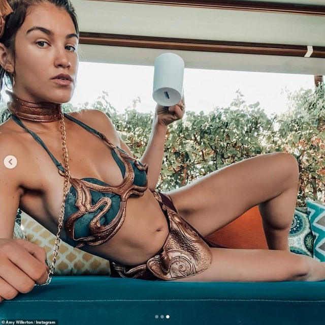 Princess Leia:Amy Willerton and her little girl appeared to make the most of their extra days in the sunshine, as they celebrated Halloween together on Saturday morning