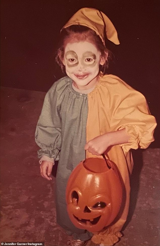 Throwback: She shared an old photo of herself as a child trick or treating as a clown