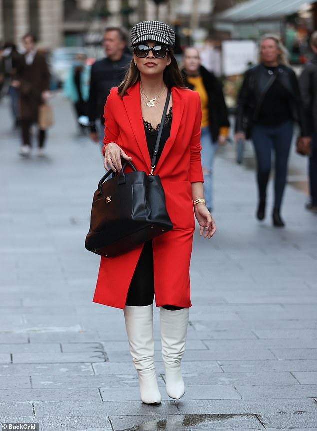Gorgeous: Myleene Klass looked incredible as she headed to work at Global Studios in central London on Saturday