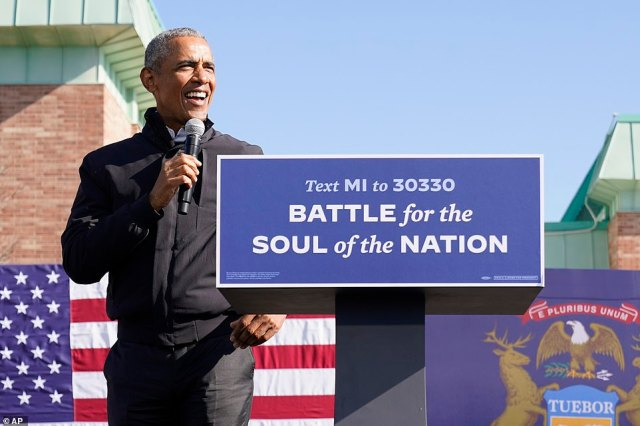 Backing for Joe: Barack Obama said his former vice president Biden will help America heal of COVID and recover from economic devastation