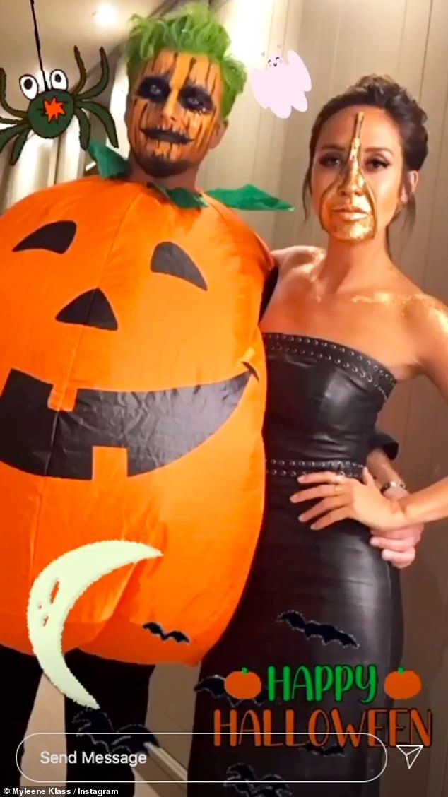 Spooky: Myleene also took to her Instagram later in the day to show of her Halloween costume as she posed with Simon