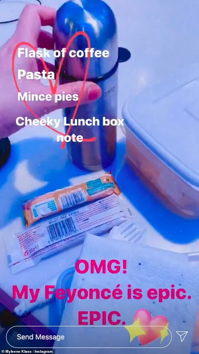 Caring: Taking to her Instagram Story during a break on her shift she videoed the packed lunch her fiancé Simon had given her which included a flask of coffee, two mince pies and a portion of pasta