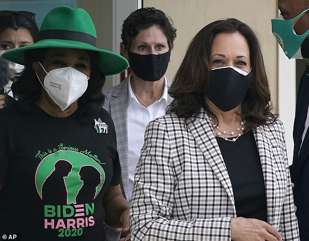 Rep. Frederica Wilson (left) called Harris 'our queen and our hero' during a brief stop the VP nominee made in Miami Gardens, Florida, the largest city with a majority black population in the state