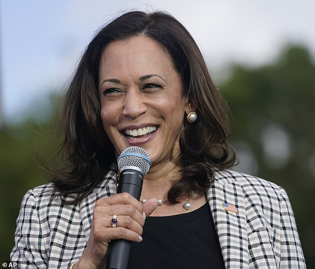 Sen. Kamala Harris was the main attraction Saturday at a drive-in rally that had a party vibe, with hours of music and special guests Fat Joe and Jose Andres preceding her arrival