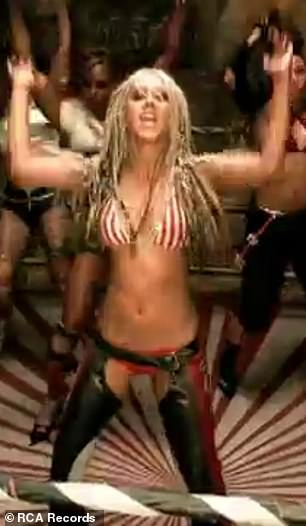 Iconic: The US singing legend appeared in exactly the same get up for her Dirrty music video in 2002