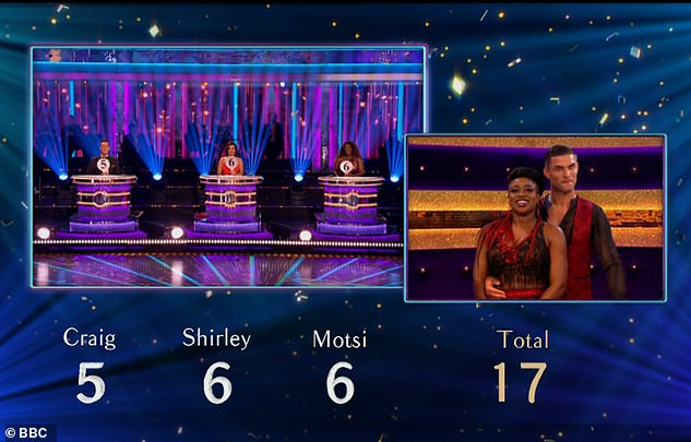 The feedback from the experts: Craig scored Clara a five while Shirley and Motsi gave her sixes