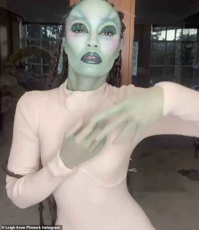 Spooky:Leigh-Anne Pinnock took to Instagram on Saturday to share a video of herself in her alien outfit to mark Halloween