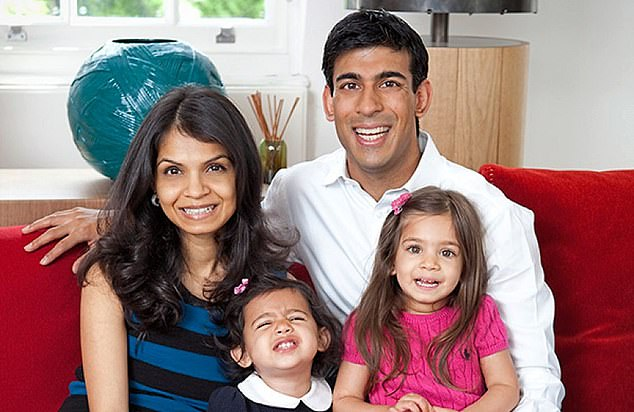 Mr Sunak has barely taken any time off work since the pandemic. Pictured: Rishi Sunak with wife Akshata and daughters Krishna and Anoushka