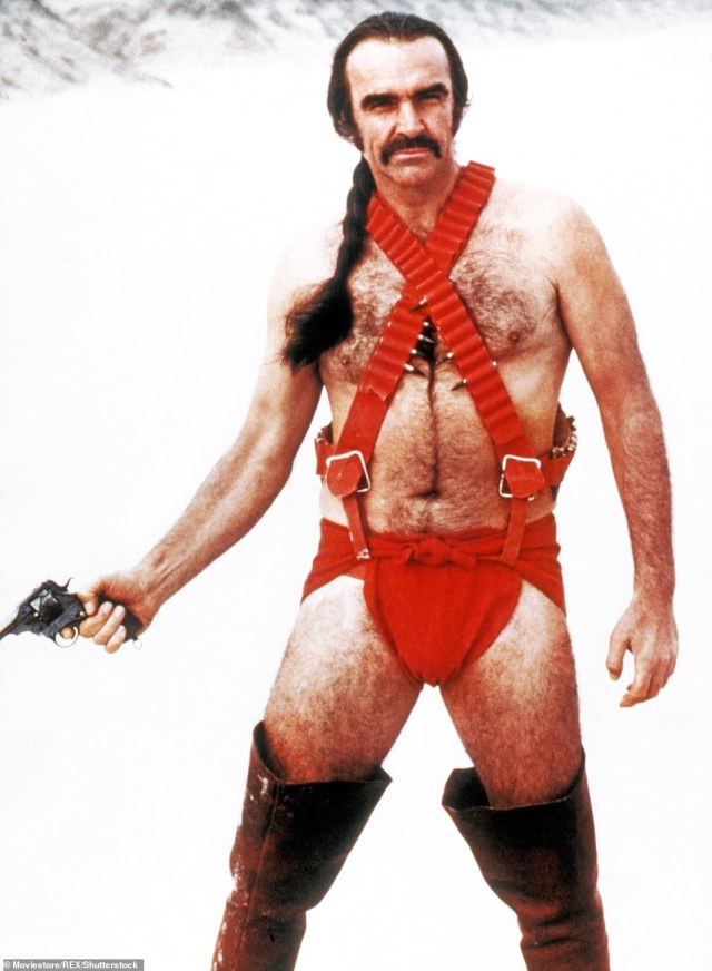 Connery poses in one of his more outlandish outfits in the 1974 sci-fi movie Zardoz