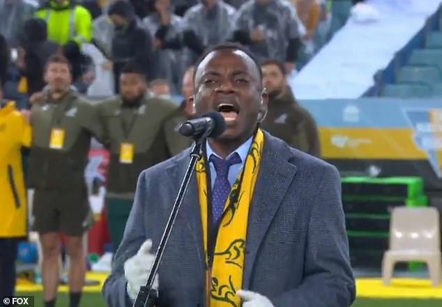 David Nduwimana (pictured) sang Advance Australia Fair at the Bledisloe Cup on Saturday