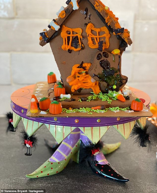 Haunted house: The girls tried their hand at making haunted houses out of gingerbread cookies for a spooky touch to the kitchen