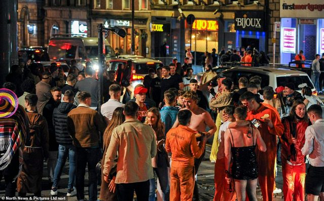 A group of young people marked Halloween by heading out to Newcastle city centre ahead of England's new shutdown