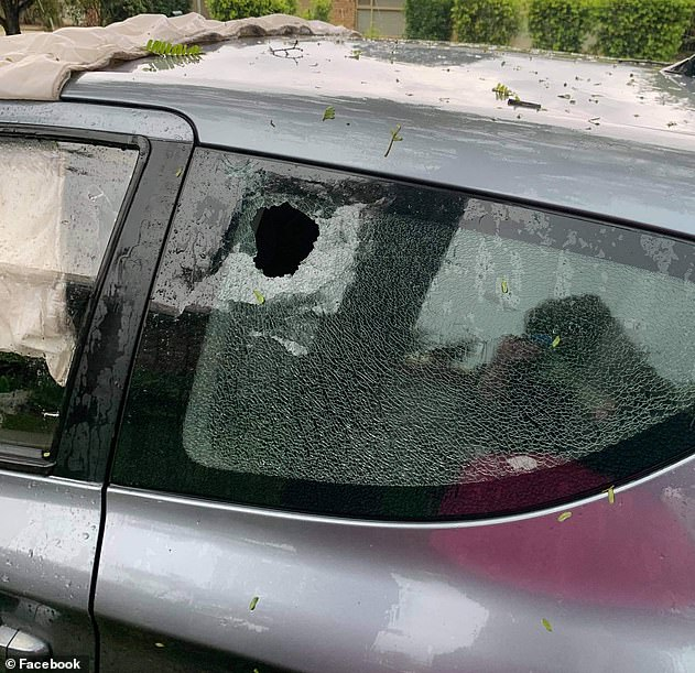 Several cars were smashed (pictured) in Queensland due to hail stones falling during the storm