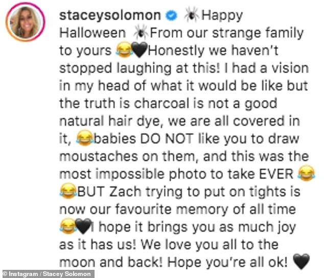 Putting in the effort: Stacey revealed she had used charcoal as a natural hair dye for some of the family's costumes