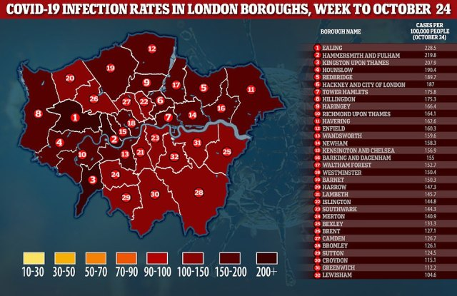 Above are the Covid-19 infection rates in London boroughs for the week ending October 24, according to official data
