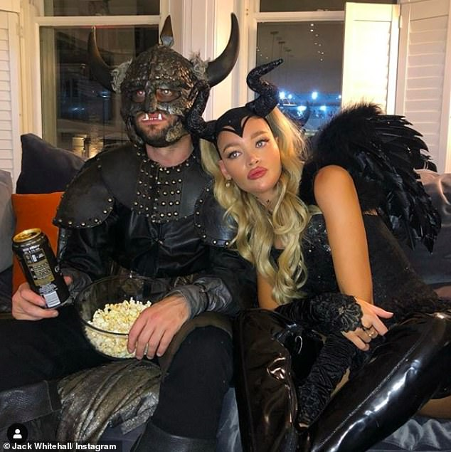 Loved-up: Jack Whitehall and his girlfriend Roxy Horner marked another milestone in their romance as they celebrated their first Halloween together on Saturday night