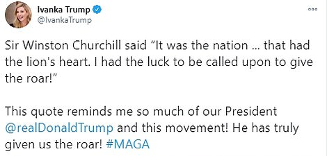 Ivanka tweeted the inspirational Winston Churchill quote along with a video of the speech she gave in Ohio