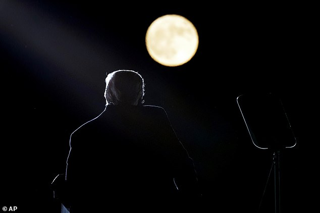 President Trump spoke in the light of a full moon at his third rally of the day at the Pittsburgh-Butler Regional Airport