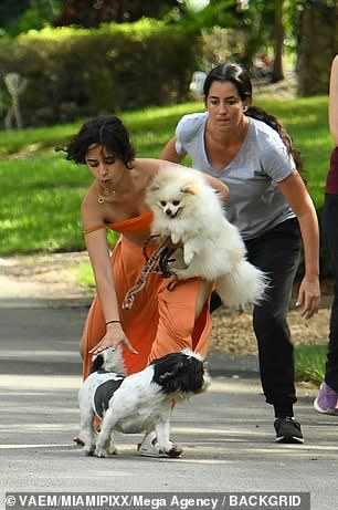 Woof: They were joined by a relative of the singer's who handled her long-haired Chihuahua Eugene