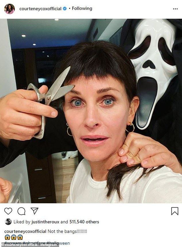 'Not the bangs!':Courteney Cox marked Halloween this Saturday by posting a fun picture from the shoot with someone dressed as the villainous Ghostface