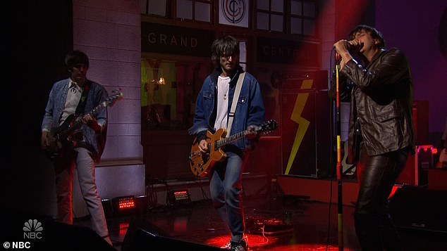 Rockers: The Strokes made their first musical performance of the evening with a subdued performance of their song The Adults Are Talking from this year¿s The New Abnormal album