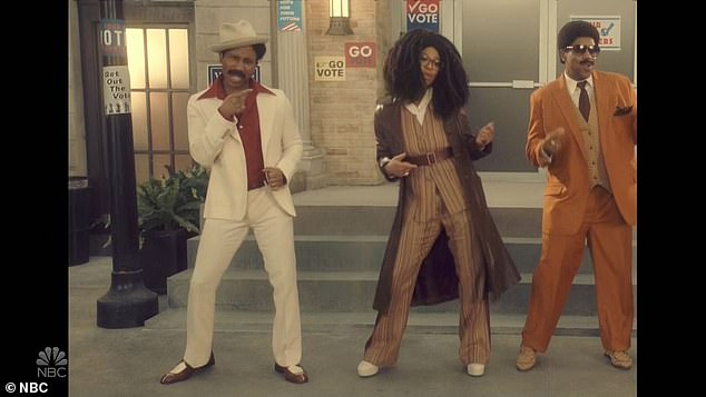 Voters: Kenan returned in a pre-taped music video titled Strollin¿ with Ego Nwodim, Chris Redd and Punkie Johnson.¿We¿re strollin¿ to the polls,¿ they sang