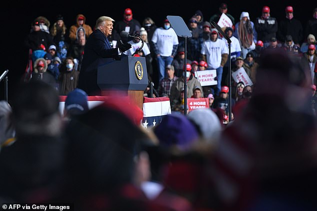 Trump speaks during a rally at Williamsport Regional Airport in Montoursville where he bragged about an executive order he signed to protect fracking - a huge industry in Pennsylvania
