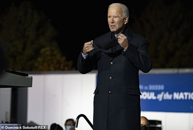 The election has sparked unease with supporters from both sides and several states have prepared their National Guard for activation (Democratic candidate Joe Biden pictured)