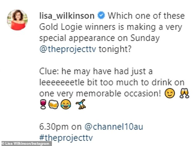 Perhaps hinting at Karl, Lisa continued: 'Clue: he may have had just a leeeeeeetle (sic) bit too much to drink on one very memorable occasion!'
