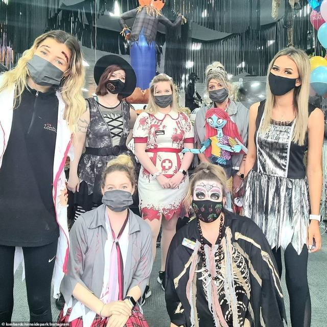 One group dressed as a doctor, school girl, witch, nurse, voodoo woman, fairy and skeleton for a Halloween Party in Chirnside Park in Victoria